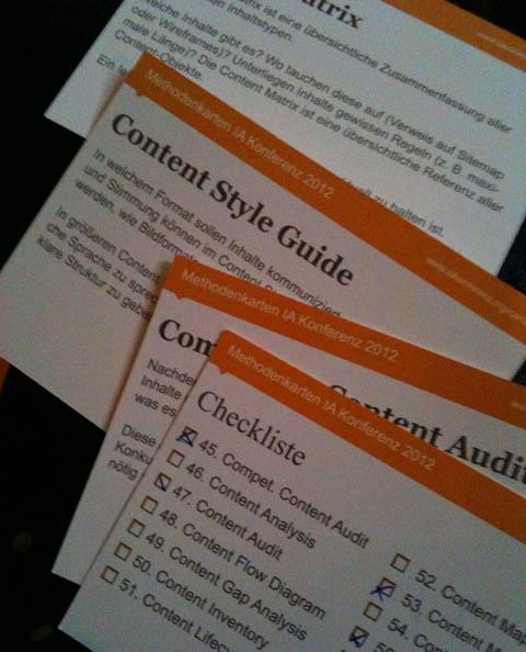 """Methodenkarten zum Thema """"Content Strategy"""" auf der iak12"""
